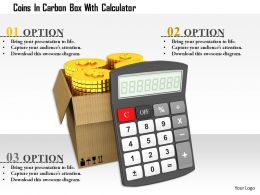 1114 Coins In Carton Box With Calculator Image Graphics For Powerpoint
