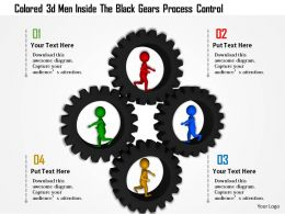 1114 Colored 3d Men Inside The Black Gears Process Control Ppt Graphics Icons