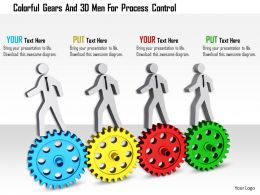1114 Colorful Gears And 3d Men For Process Control Ppt Graphics Icons