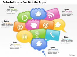 1114 Colorful Icons For Mobile Apps Powerpoint Template