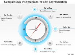 1114 Compass Style Infographics For Text Representation Powerpoint Template
