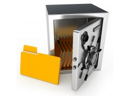 1114 Computer Folders In Bank Safe For Data Security Stock Photo