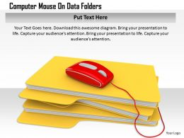 1114 Computer Mouse On Data Folders Image Graphics For Powerpoint