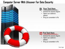 1114 Computer Server With Lifesaver For Data Security Image Graphics For Powerpoint