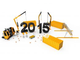 1114 Crane With Moulder And 2015 Year Text Stock Photo