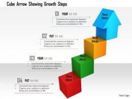 1114 Cube Arrow Showing Growth Steps Image Graphics For Powerpoint