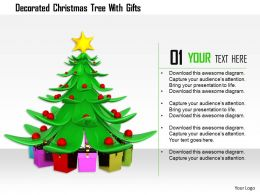 1114 Decorated Christmas Tree With Gifts Image Graphics For Powerpoint