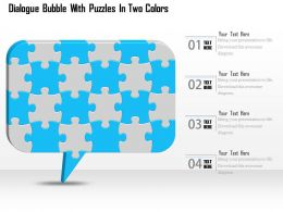1114 Dialogue Bubble With Puzzles In Two Colors Powerpoint Template
