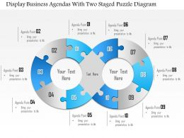 1114 Display Business Agendas With Two Staged Puzzle Diagram Powerpoint Template