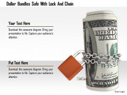 1114 Dollar Bundles Safe With Lock And Chain Image Graphics For Powerpoint