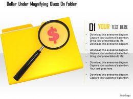1114 Dollar Under Magnifying Glass On Folder Image Graphics For Powerpoint