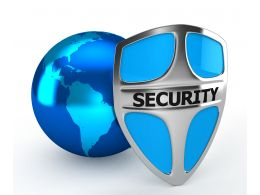 1114 Earth Globe And Security Shield Done Stock Photo