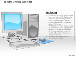1114 Editable Desktop Computer With Flat Screen Monitor Mouse And Tower Cpu Ppt Slide