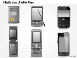 1114 Editable Icons Of Mobile Phone Blackberry Iphone Razor Pda Battery Ppt Slide