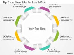 1114 Eight Staged Ribbon Styled Text Boxes In Circle Powerpoint Template