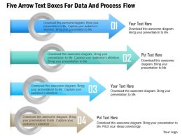 1114 Five Arrow Text Boxes For Data And Process Flow PowerPoint Template
