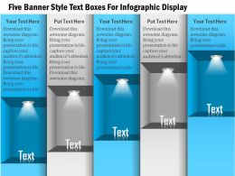 1114 Five Banner Style Text Boxes For Infographic Display Powerpoint Template