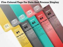 1114 Five Colored Tags For Data And Process Display Powerpoint Template