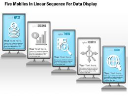 1114 Five Mobiles In Linear Sequence For Data Display Powerpoint Template