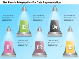 1114 Five Pencils Infographics For Data Representation Powerpoint Template