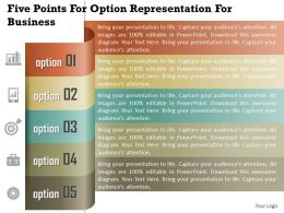 1114 Five Points For Option Representation For Business Powerpoint Template