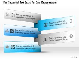 1114 Five Sequential Text Boxes For Data Representation Powerpoint Template
