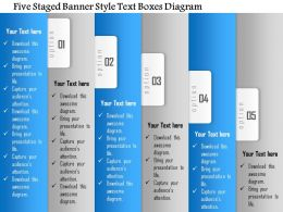 1114 Five Staged Banner Style Text Boxes Diagram Powerpoint Template