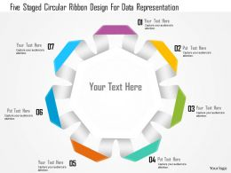 1114 Five Staged Circular Ribbon Design For Data Representation Powerpoint Template