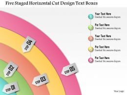 1114 Five Staged Horizontal Cut Design Text Boxes Powerpoint Template