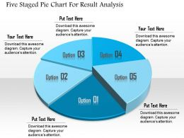 1114 Five Staged Pie Chart For Result Analysis Powerpoint Template