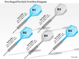1114 Five Staged Pin Style Text Box Diagram Powerpoint Template