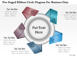 1114 Five Staged Ribbon Circle Diagram For Business Data Powerpoint Template