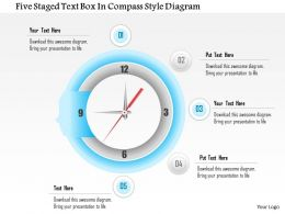 1114 Five Staged Text Box In Compass Style Diagram Powerpoint Template