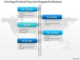 1114 Five Staged Vertical Time Line Diagram For Business Powerpoint Template