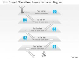 1114 Five Staged Workflow Layout Success Diagram PowerPoint Template