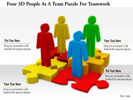 1114 Four 3d People As A Team Puzzle For Teamwork Ppt Graphics Icons