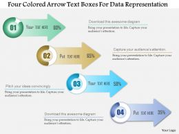 1114 Four Colored Arrow Text Boxes For Data Representation Presentation Template