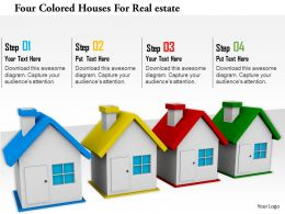 1114 Four Colored Houses For Realestate Image Graphics For Powerpoint