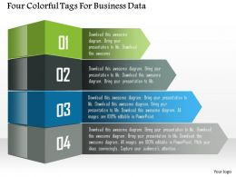 1114 Four Colorful Tags For Business Data Presentation Template