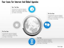 1114 Four Icons For Internet And Global Agendas Powerpoint Template