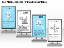 1114 Four Mobiles In Series For Data Representation Powerpoint Template