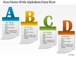 1114 Four Notes With Alphabets Data Flow PowerPoint Template
