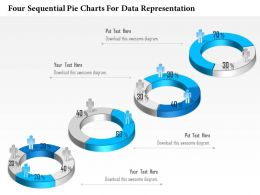 1114 Four Sequential Pie Charts For Data Representation Presentation Template