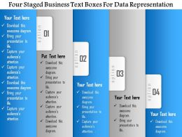 1114 Four Staged Business Text Boxes For Data Representation Powerpoint Template