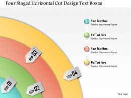1114 Four Staged Horizontal Cut Design Text Boxes Powerpoint Template