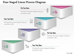 1114 Four Staged Linear Process Diagram Powerpoint Template