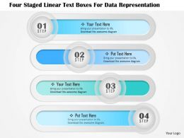 1114 Four Staged Linear Text Boxes For Data Representation Powerpoint Template