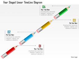 1114 Four Staged Linear Timeline Diagram Presentation Template