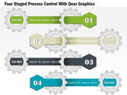 1114 Four Staged Process Control With Gear Graphics Powerpoint Template