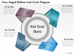 1114 Four Staged Ribbon And Circle Diagram Powerpoint Template